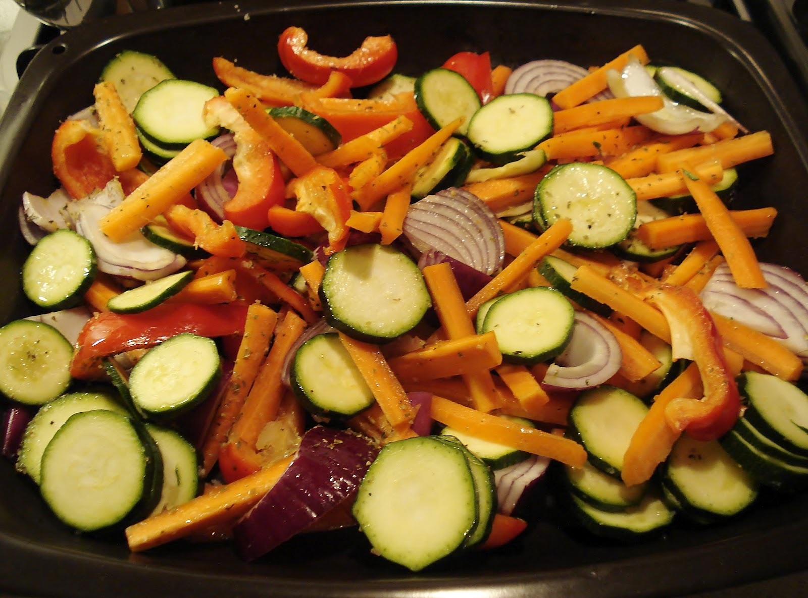 Roasted vegetables before oven